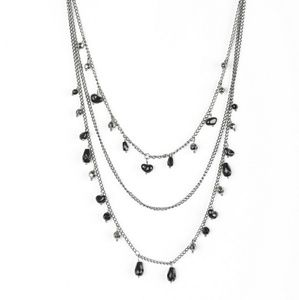 Multilayered necklace and earrings,  gunmetal